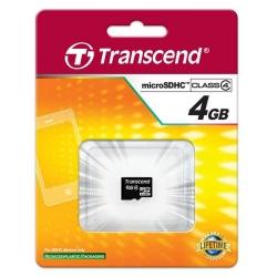 Memory Card Transcend microSDHC 4GB, class 4