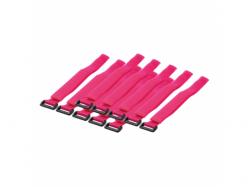 Organizator cabluri Logilink cu banda velcro, Pink