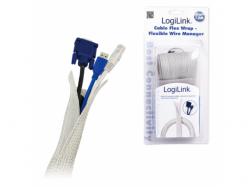 Organizator flexibil cabluri Logilink, Grey