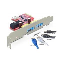 Adaptor Delock PCI Express x1 - 2 x Multiport USB 3.0 + eSATAp
