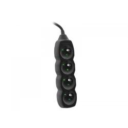 Prelungitor Tracer PowerCord, 4 prize, 3m, Black