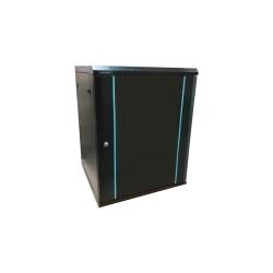 Rack 15U 600x600, montare pe perete, usa din sticla, panouri laterale detasabile si securizate, dezasamblat, culoare negru RAL 9004, DATEUP