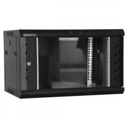 Rack 9U 600x450, montare pe perete, usa din sticla, panouri laterale detasabile si securizate, asamblat, culoare neagra RAL 9004, DATEUP, MW.6409.9001