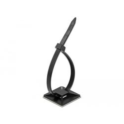 Set 10 bride 250 x 7.2 mm + suport prindere 40 x 40 mm Negru, Delock 18675