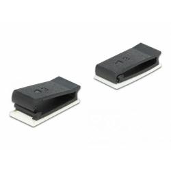 Set 10 bucati suport cu adeziv pentru cablu flat/plat Negru, Delock 60185