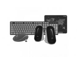Kit Wireless Natec Tetra - Tastatura, USB, Black-Grey + Mouse Optic, USB, Black-Grey + Boxe stereo 2.0, 6W, jack 3.5mm + Mouse Pad, Black-Grey