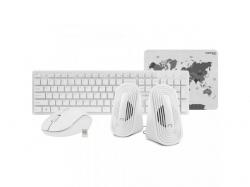 Kit Wireless Natec Tetra - Tastatura, USB, White + Mouse Optic, USB, White + Boxe stereo 2.0, 6W, jack 3.5mm, White + Mouse Pad, White-Grey