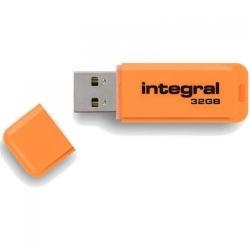 Stick memorie Integral Neon 32GB, USB 2.0, Orange