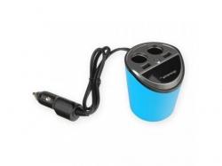 Incarcator auto Whitenergy, 2x USB, 2x Car Cigarette, 3.1A, Black-Blue