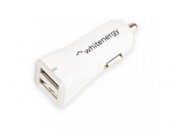 Incarcator auto Whitenergy, 2x USB, 2.4A, White